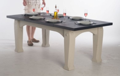 Slate kitchen table with oak legs